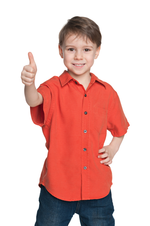 Boy in red shirt thumb up